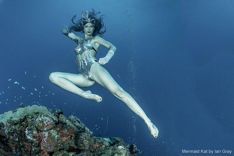 Unterwassermodel in Mikronesien in Truk Lagoon