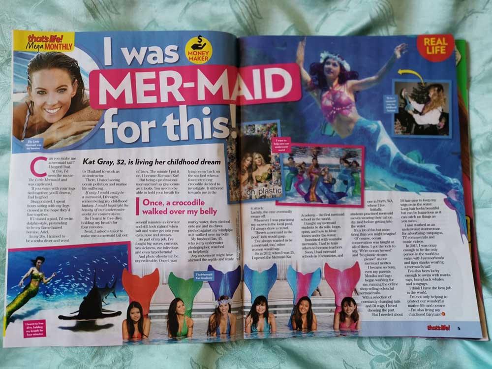 Wassernixe Mermaid Kat im Australischen That's Life Magazin
