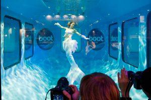 Meerjungfrau Mermaid Kat schwimmt auf der Boot Düsseldorf im Wasserturm