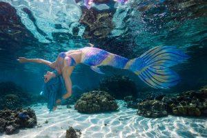 Eine Meerjungfrau-Flosse aus Silikon