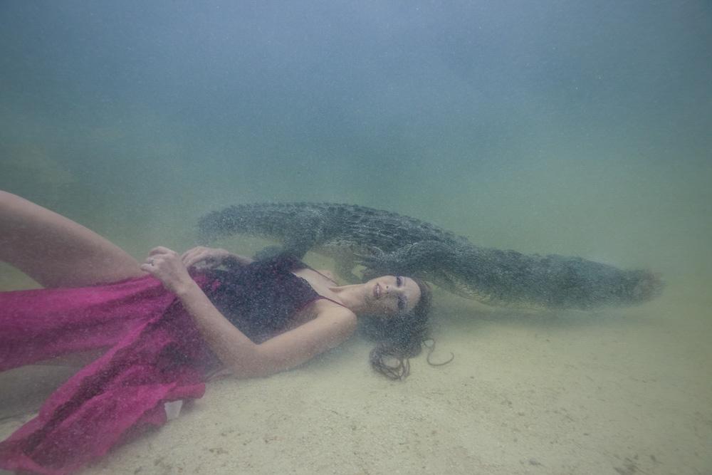 Unterwasser Stuntfrau - Model schwimmt mit Krokodil